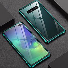 Coque Rebord Bumper Luxe Aluminum Metal Miroir Housse Etui pour Samsung Galaxy S10 Plus Vert