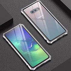 Coque Rebord Bumper Luxe Aluminum Metal Miroir Housse Etui pour Samsung Galaxy S10e Argent