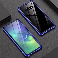 Coque Rebord Bumper Luxe Aluminum Metal Miroir Housse Etui pour Samsung Galaxy S10e Bleu