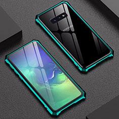 Coque Rebord Bumper Luxe Aluminum Metal Miroir Housse Etui pour Samsung Galaxy S10e Vert