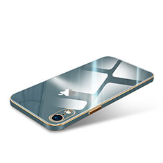 Coque Rebord Contour Silicone et Vitre Luxe Transparente Miroir Housse Etui pour Apple iPhone XR Vert Nuit