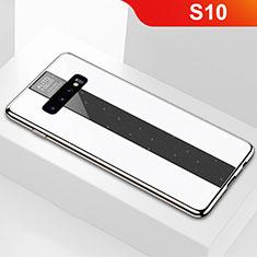 Coque Rebord Contour Silicone et Vitre Miroir Housse Etui A01 pour Samsung Galaxy S10 Blanc