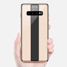 Coque Rebord Contour Silicone et Vitre Miroir Housse Etui A01 pour Samsung Galaxy S10 Or