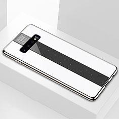Coque Rebord Contour Silicone et Vitre Miroir Housse Etui A01 pour Samsung Galaxy S10 Plus Blanc