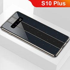 Coque Rebord Contour Silicone et Vitre Miroir Housse Etui A01 pour Samsung Galaxy S10 Plus Noir