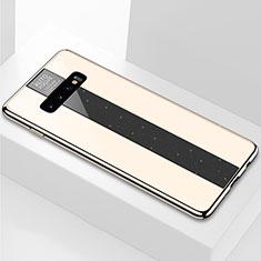 Coque Rebord Contour Silicone et Vitre Miroir Housse Etui A01 pour Samsung Galaxy S10 Plus Or