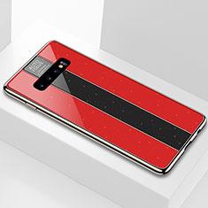 Coque Rebord Contour Silicone et Vitre Miroir Housse Etui A01 pour Samsung Galaxy S10 Rouge