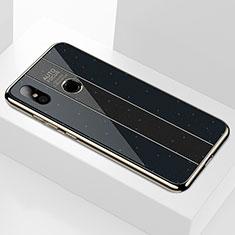 Coque Rebord Contour Silicone et Vitre Miroir Housse Etui A01 pour Xiaomi Mi 8 Noir
