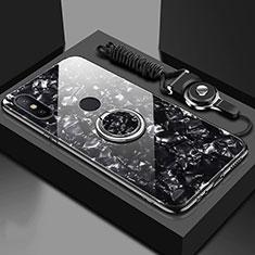 Coque Rebord Contour Silicone et Vitre Miroir Housse Etui avec Support Bague Anneau Magnetique A01 pour Xiaomi Mi A2 Noir