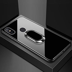Coque Rebord Contour Silicone et Vitre Miroir Housse Etui avec Support Bague Anneau Magnetique A01 pour Xiaomi Redmi 6 Pro Noir