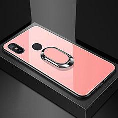 Coque Rebord Contour Silicone et Vitre Miroir Housse Etui avec Support Bague Anneau Magnetique A01 pour Xiaomi Redmi 6 Pro Or Rose