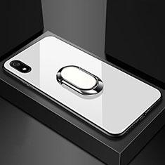 Coque Rebord Contour Silicone et Vitre Miroir Housse Etui avec Support Bague Anneau Magnetique A01 pour Xiaomi Redmi 7A Blanc