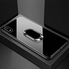 Coque Rebord Contour Silicone et Vitre Miroir Housse Etui avec Support Bague Anneau Magnetique A01 pour Xiaomi Redmi 7A Noir