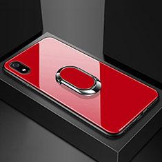 Coque Rebord Contour Silicone et Vitre Miroir Housse Etui avec Support Bague Anneau Magnetique A01 pour Xiaomi Redmi 7A Rouge