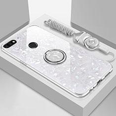 Coque Rebord Contour Silicone et Vitre Miroir Housse Etui avec Support Bague Anneau Magnetique M01 pour Huawei Enjoy 8e Blanc