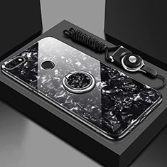 Coque Rebord Contour Silicone et Vitre Miroir Housse Etui avec Support Bague Anneau Magnetique M01 pour Huawei Enjoy 8e Noir