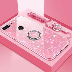 Coque Rebord Contour Silicone et Vitre Miroir Housse Etui avec Support Bague Anneau Magnetique M01 pour Huawei Enjoy 8e Or Rose
