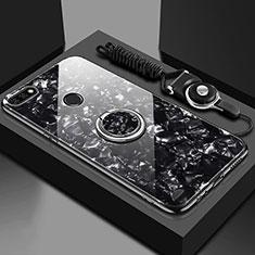 Coque Rebord Contour Silicone et Vitre Miroir Housse Etui avec Support Bague Anneau Magnetique M01 pour Huawei Y6 Prime (2018) Noir