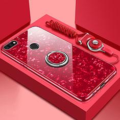 Coque Rebord Contour Silicone et Vitre Miroir Housse Etui avec Support Bague Anneau Magnetique M01 pour Huawei Y6 Prime (2018) Rouge