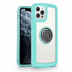 Coque Rebord Contour Silicone et Vitre Miroir Housse Etui avec Support Bague Anneau Magnetique N01 pour Apple iPhone 12 Pro Cyan