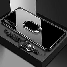 Coque Rebord Contour Silicone et Vitre Miroir Housse Etui avec Support Bague Anneau Magnetique pour Huawei Enjoy 10S Noir