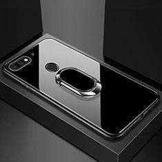Coque Rebord Contour Silicone et Vitre Miroir Housse Etui avec Support Bague Anneau Magnetique pour Huawei Enjoy 8e Noir