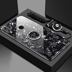 Coque Rebord Contour Silicone et Vitre Miroir Housse Etui avec Support Bague Anneau Magnetique pour Huawei Enjoy 9 Plus Noir