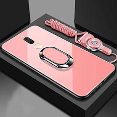 Coque Rebord Contour Silicone et Vitre Miroir Housse Etui avec Support Bague Anneau Magnetique pour Huawei G10 Or Rose