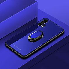 Coque Rebord Contour Silicone et Vitre Miroir Housse Etui avec Support Bague Anneau Magnetique pour Huawei Honor 20 Pro Bleu