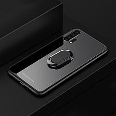 Coque Rebord Contour Silicone et Vitre Miroir Housse Etui avec Support Bague Anneau Magnetique pour Huawei Honor 20 Pro Noir
