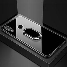 Coque Rebord Contour Silicone et Vitre Miroir Housse Etui avec Support Bague Anneau Magnetique pour Huawei Honor 8X Noir