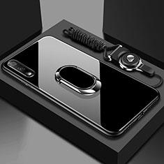 Coque Rebord Contour Silicone et Vitre Miroir Housse Etui avec Support Bague Anneau Magnetique pour Huawei Honor 9X Noir