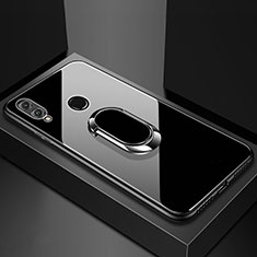 Coque Rebord Contour Silicone et Vitre Miroir Housse Etui avec Support Bague Anneau Magnetique pour Huawei Honor V10 Lite Noir