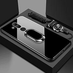 Coque Rebord Contour Silicone et Vitre Miroir Housse Etui avec Support Bague Anneau Magnetique pour Huawei Mate 20 Lite Noir