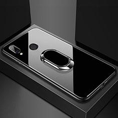 Coque Rebord Contour Silicone et Vitre Miroir Housse Etui avec Support Bague Anneau Magnetique pour Huawei P20 Lite Noir