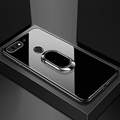 Coque Rebord Contour Silicone et Vitre Miroir Housse Etui avec Support Bague Anneau Magnetique pour Huawei Y6 Prime (2018) Noir