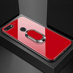 Coque Rebord Contour Silicone et Vitre Miroir Housse Etui avec Support Bague Anneau Magnetique pour Huawei Y6 Prime (2018) Rouge
