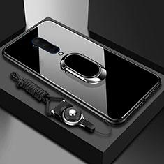 Coque Rebord Contour Silicone et Vitre Miroir Housse Etui avec Support Bague Anneau Magnetique pour OnePlus 7T Pro Noir