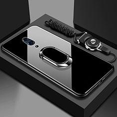 Coque Rebord Contour Silicone et Vitre Miroir Housse Etui avec Support Bague Anneau Magnetique pour Oppo Realme X Noir