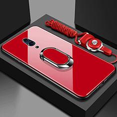 Coque Rebord Contour Silicone et Vitre Miroir Housse Etui avec Support Bague Anneau Magnetique pour Oppo Realme X Rouge