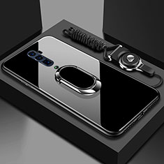 Coque Rebord Contour Silicone et Vitre Miroir Housse Etui avec Support Bague Anneau Magnetique pour Oppo Reno 10X Zoom Noir