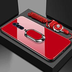 Coque Rebord Contour Silicone et Vitre Miroir Housse Etui avec Support Bague Anneau Magnetique pour Oppo Reno 10X Zoom Rouge