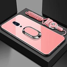 Coque Rebord Contour Silicone et Vitre Miroir Housse Etui avec Support Bague Anneau Magnetique pour Oppo Reno Or Rose