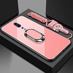 Coque Rebord Contour Silicone et Vitre Miroir Housse Etui avec Support Bague Anneau Magnetique pour Oppo Reno Z Or Rose