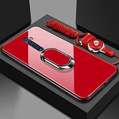 Coque Rebord Contour Silicone et Vitre Miroir Housse Etui avec Support Bague Anneau Magnetique pour Oppo Reno2 Rouge