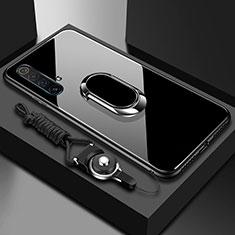 Coque Rebord Contour Silicone et Vitre Miroir Housse Etui avec Support Bague Anneau Magnetique pour Realme X50m 5G Noir