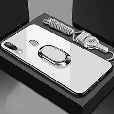 Coque Rebord Contour Silicone et Vitre Miroir Housse Etui avec Support Bague Anneau Magnetique pour Samsung Galaxy A30 Blanc