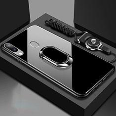 Coque Rebord Contour Silicone et Vitre Miroir Housse Etui avec Support Bague Anneau Magnetique pour Samsung Galaxy A30 Noir