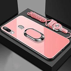 Coque Rebord Contour Silicone et Vitre Miroir Housse Etui avec Support Bague Anneau Magnetique pour Samsung Galaxy A40 Or Rose