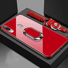 Coque Rebord Contour Silicone et Vitre Miroir Housse Etui avec Support Bague Anneau Magnetique pour Samsung Galaxy A40 Rouge